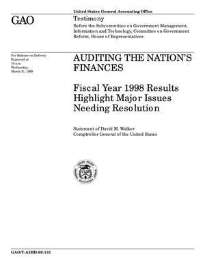 Primary view of object titled 'Auditing the Nation's Finances: Fiscal Year 1998 Results Highlight Major Issues Needing Resolution'.