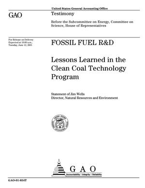 Primary view of object titled 'Fossil Fuel R&D: Lessons Learned in the Clean Coal Technology Program'.