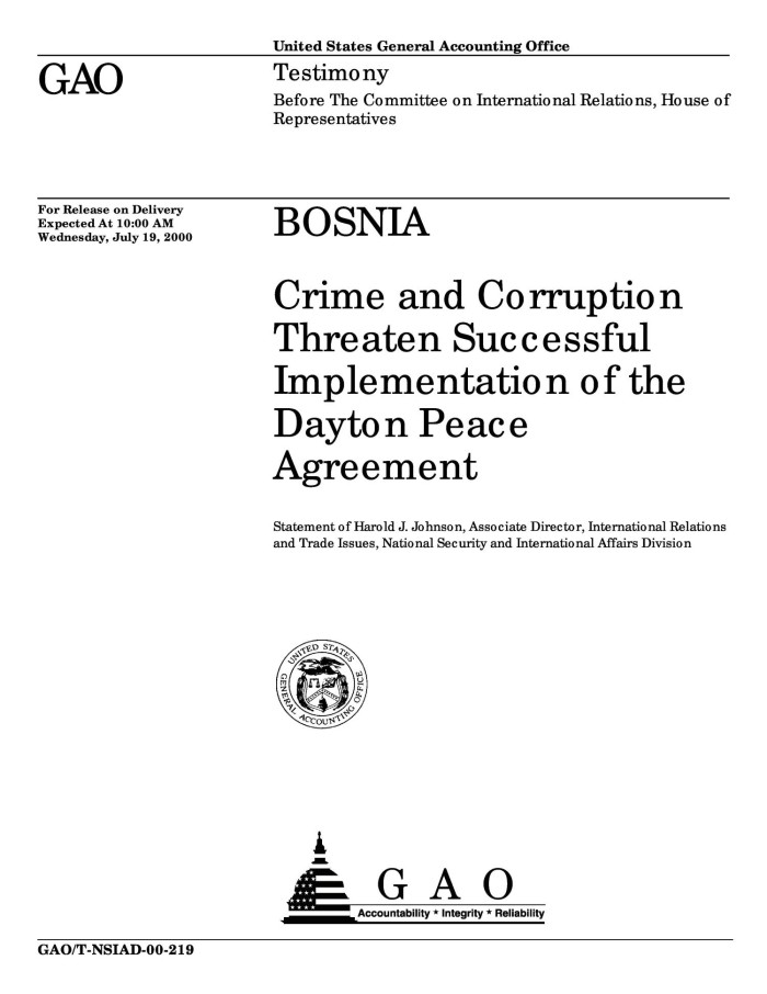 Bosnia Crime And Corruption Threaten Successful Implementation Of