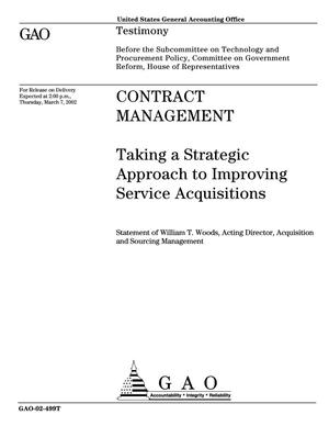Primary view of object titled 'Contract Management: Taking a Strategic Approach to Improving Service Acquisitions'.