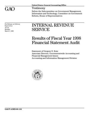 Primary view of object titled 'Internal Revenue Service: Results of Fiscal Year 1998 Financial Statement Audit'.