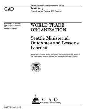 Primary view of object titled 'World Trade Organization: Seattle Ministerial: Outcomes and Lessons Learned'.