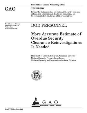 Primary view of object titled 'DOD Personnel: More Accurate Estimate of Overdue Security Clearance Reinvestigations Is Needed'.