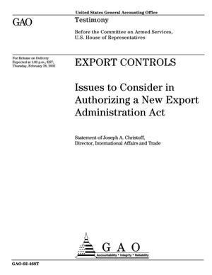 Primary view of object titled 'Export Controls: Issues to Consider in Authorizing a New Export Administration Act'.