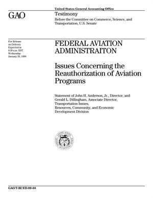Primary view of object titled 'Federal Aviation Administration: Issues Concerning the Reauthorization of Aviation Programs'.