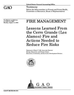 Primary view of object titled 'Fire Management: Lessons Learned From the Cerro Grande (Los Alamos) Fire and Actions Needed to Reduce Fire Risks'.