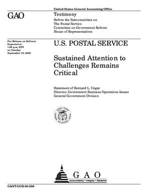 Primary view of object titled 'U.S. Postal Service: Sustained Attention to Challenges Remains Critical'.