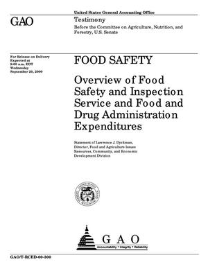 Primary view of object titled 'Food Safety: Overview of Food Safety and Inspection Service and Food and Drug Administration Expenditures'.