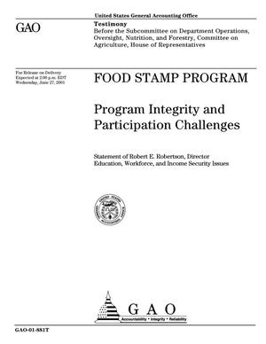 Primary view of object titled 'Food Stamp Program: Program Integrity and Participation Challenges'.