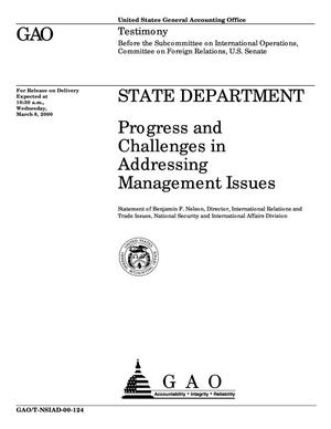 Primary view of State Department: Progress and Challenges in Addressing Management Issues