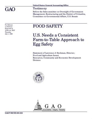 Primary view of object titled 'Food Safety: U.S. Needs a Consistent Farm-to-Table Approach to Egg Safety'.