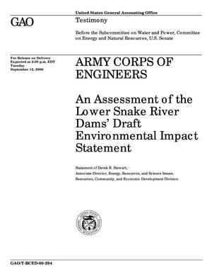 Primary view of object titled 'Army Corps of Engineers: An Assessment of the Lower Snake River Dams' Draft Environmental Impact Statement'.