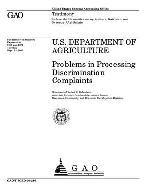 Primary view of object titled 'U.S. Department of Agriculture: Problems in Processing Discrimination Complaints'.