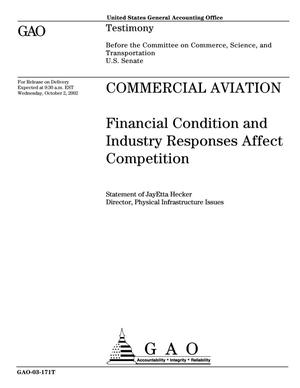 Primary view of object titled 'Commercial Aviation: Financial Condition and Industry Responses Affect Competition'.