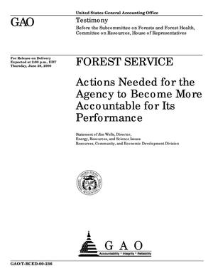 Primary view of object titled 'Forest Service: Actions Needed for the Agency to Become More Accountable for Its Performance'.