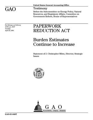 Primary view of object titled 'Paperwork Reduction Act: Burden Estimates Continue to Increase'.