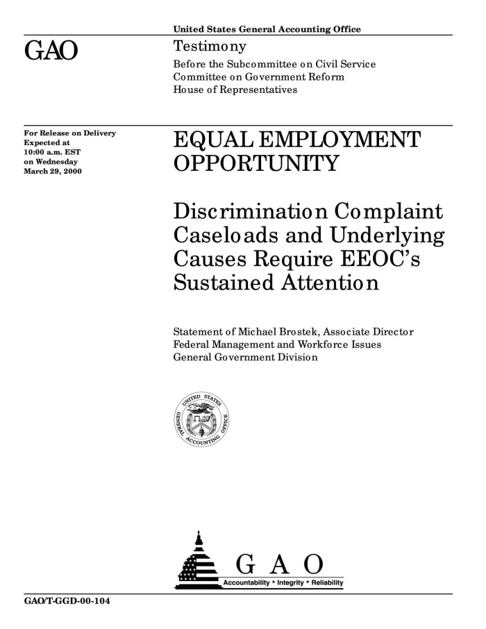 Equal Employment Opportunity: Discrimination Complaint