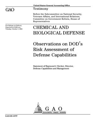 Primary view of object titled 'Chemical and Biological Defense: Observations on DOD's Risk Assessment of Defense Capabilities'.