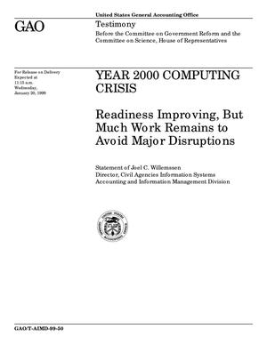 Primary view of object titled 'Year 2000 Computing Crisis: Readiness Improving, But Much Work Remains to Avoid Major Disruptions'.