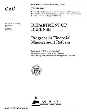 Primary view of object titled 'Department of Defense: Progress in Financial Management Reform'.