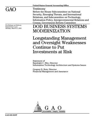 Primary view of object titled 'DOD Business Systems Modernization: Longstanding Management and Oversight Weaknesses Continue to Put Investments at Risk'.