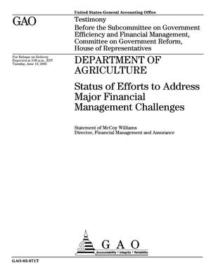Primary view of object titled 'Department of Agriculture: Status of Efforts to Address Major Financial Management Challenges'.