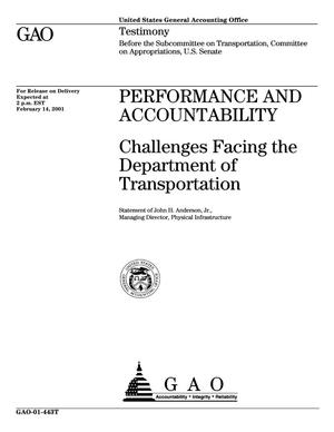 Primary view of object titled 'Performance and Accountability: Challenges Facing the Department of Transportation'.
