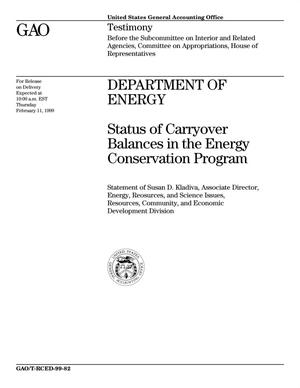 Primary view of object titled 'Department of Energy: Status of Carryover Balances in the Energy Conservation Program'.