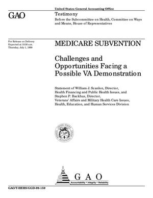Primary view of object titled 'Medicare Subvention: Challenges and Opportunities Facing a Possible VA Demonstration'.