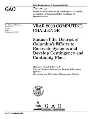 Primary view of object titled 'Year 2000 Computing Challenge: Status of the District of Columbia's Efforts to Renovate Systems and Develop Contingency and Continuity Plans'.