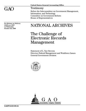 Primary view of object titled 'National Archives: The Challenge of Electronic Records Management'.