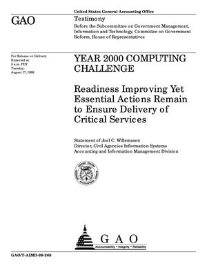 Primary view of object titled 'Year 2000 Computing Challenge: Readiness Improving Yet Essential Actions Remain to Ensure Delivery of Critical Services'.