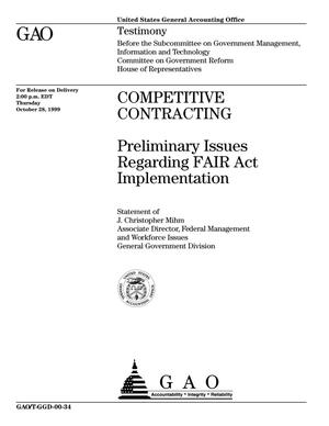 Primary view of object titled 'Competitive Contracting: Preliminary Issues Regarding FAIR Act Implementation'.
