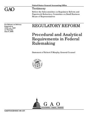 Primary view of object titled 'Regulatory Reform: Procedural and Analytical Requirements in Federal Rulemaking'.