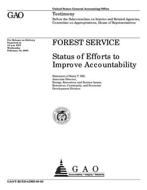 Primary view of object titled 'Forest Service: Status of Efforts to Improve Accountability'.
