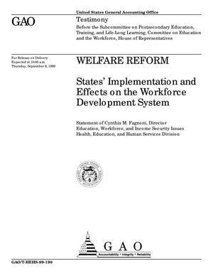 Primary view of object titled 'Welfare Reform: States' Implementation and Effects on the Workforce Development System'.
