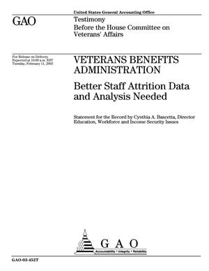 Primary view of object titled 'Veterans Benefits Administration: Better Staff Attrition Data and Analysis Needed'.