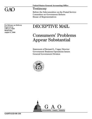 Primary view of object titled 'Deceptive Mail: Consumers' Problems Appear Substantial'.