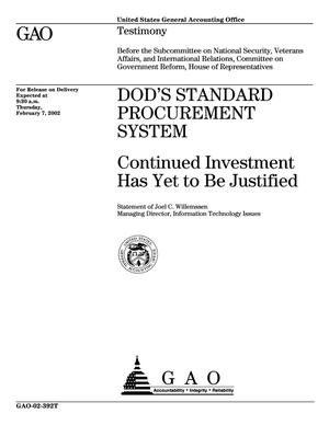 Primary view of object titled 'DOD's Standard Procurement System: Continued Investment Has Yet to Be Justified'.