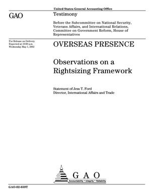 Primary view of object titled 'Overseas Presence: Observations on a Rightsizing Framework'.