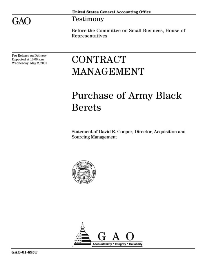 Contract Management: Purchase of Army Black Berets - Digital