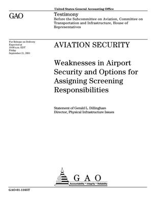 Primary view of object titled 'Aviation Security: Weaknesses in Airport Security and Options for Assigning Screening Responsibilities'.