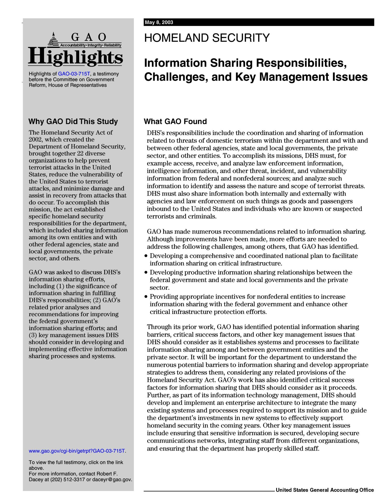 Homeland Security: Information Sharing Responsibilities, Challenges, and Key Management Issues                                                                                                      [Sequence #]: 3 of 53