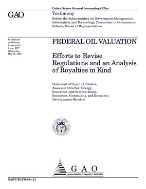 Primary view of object titled 'Federal Oil Valuation: Efforts to Revise Regulations and an Analysis of Royalties in Kind'.