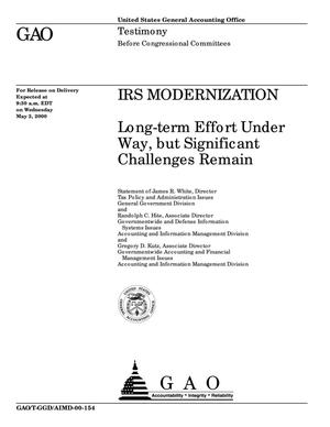 Primary view of object titled 'IRS Modernization: Long-term Effort Under Way, but Significant Challenges Remain'.