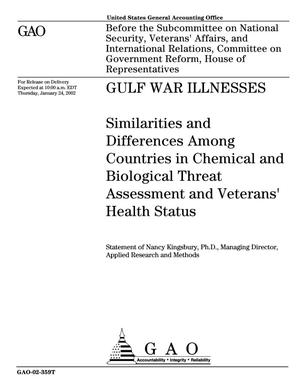 Primary view of object titled 'Gulf War Illnesses: Similarities and Differences Among Countries in Chemical and Biological Threat Assessment and Veterans' Health Status'.
