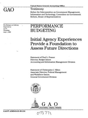 Primary view of object titled 'Performance Budgeting: Initial Agency Experiences Provide a Foundation to Assess Future Directions'.