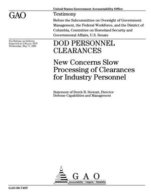 Primary view of object titled 'DOD Personnel Clearances: New Concerns Slow Processing of Clearances for Industry Personnel'.