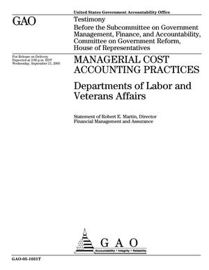 Primary view of object titled 'Managerial Cost Accounting Practices: Departments of Labor and Veterans Affairs'.