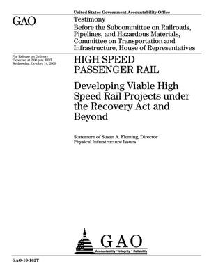 Primary view of object titled 'High Speed Passenger Rail: Developing Viable High Speed Rail Projects under the Recovery Act and Beyond'.